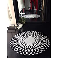 Mrs.W Modern Stylish Design 8mm Pile Height with Non-Skid Particles Backing Area Rugs, Round 53 Diameter