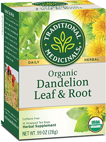 Traditional Medicinals Organic Dandelion Leaf & Root Herbal Leaf Tea, 16 Tea Bags (Pack of 6) (Dandelion Tea Organic)