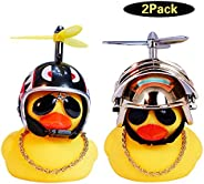 wonuu Rubber Duck Toy Car Ornaments Yellow Duck Car Dashboard Decorations with Take-Copter Helmet for Adults,