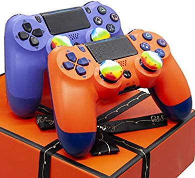 Amazon Com Xmas Ps4 Controller 2 Pack Purple And Sunset Orange Yu33 Ps4 Wireless Controller Remote For Playstation 4 2020 Christmas Mando Control Ps4 Joystick With 4 Raimbow Thumb Stick Caps Computers Accessories