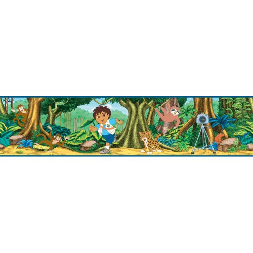 Go Diego Go Wall Appliques (Blue Mountain Wallcoverings NS026444 Go Diego Go Self-Stick Wall Border)
