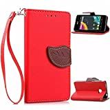 Acer Liquid Z220 Case, ANGELLA-M Retro Flower PU Leather Wallet Case Bookstyle Soft TPU [Shock Absorbent] Flip Bracket Cover & Wrist Strap Case for Acer Liquid Z220 Red