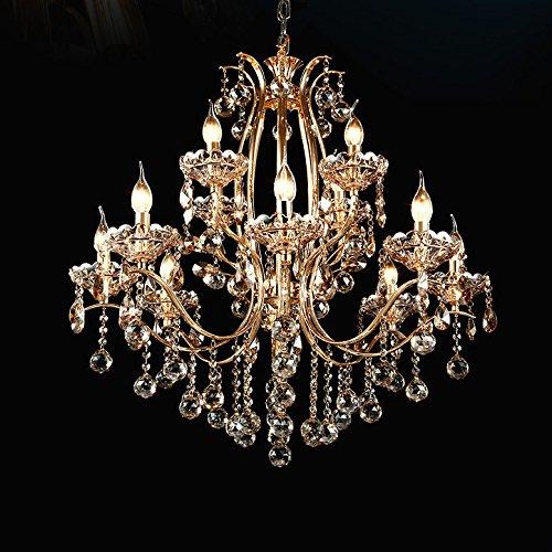 Vintage Golden Teak Crystal Chandelier Lighting Ceiling Light Fixture in Shiny Gold 4 Sizes (12-Light) -