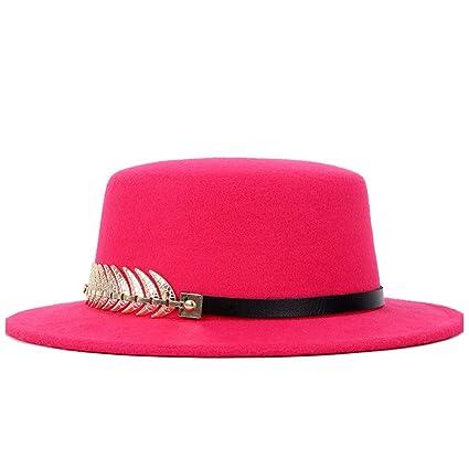 Bangxiu Felt Top Hats Caps   Headwear Fashion Pork Pie Hat Wild Color Hat  Gold Round 90b417d50eab
