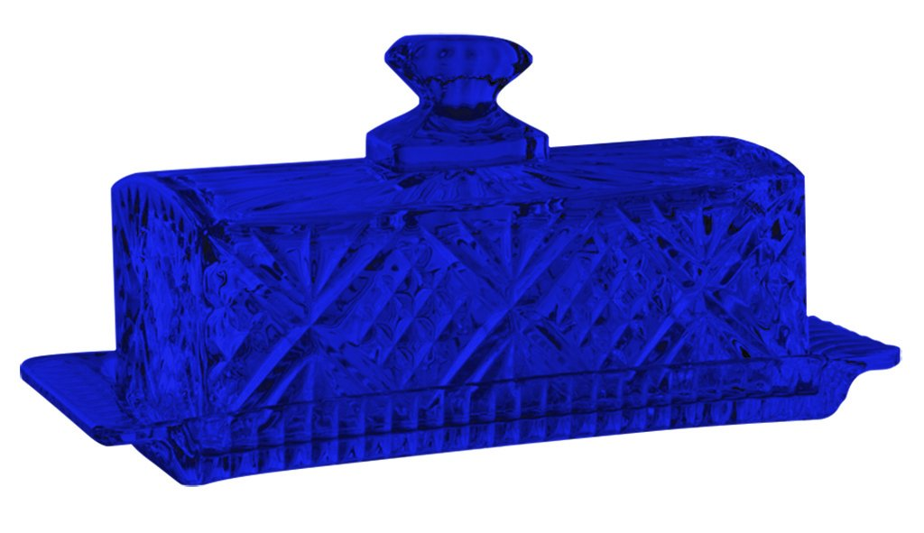 Godinger Dublin Covered Butter Dish Crystal Glass - Full Color Cobalt Blue - Additional Vibrant Colors Available by TableTop King