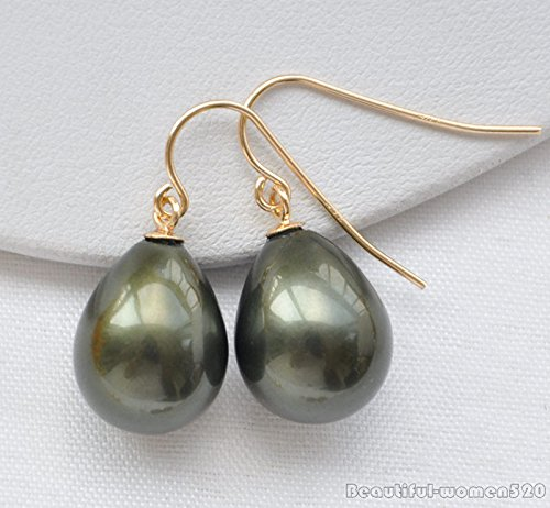 Black X0353 16mm drip south sea shell pearl dangle earring (Rings Pearl South Sea Mabe)