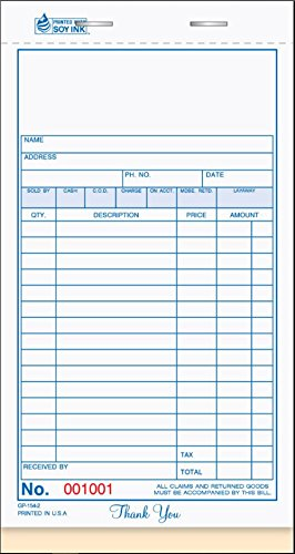 Ennis General Purpose Consecutively Numbered Sales Book 2-Part Carbonless White/Canary 4.25''x7'' 50 Sets per Book by ExecuSystems