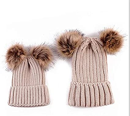 Mother /& Baby Winter Warm Knit Pom Pom Hat Family Matching Beanie Ski Cap Tabpole 2PCS Parent-Child Hat