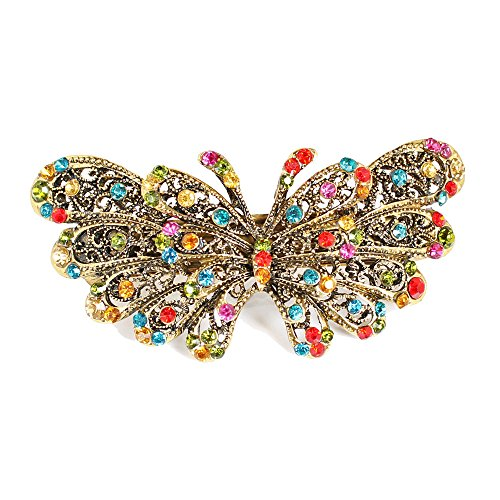 GSM Accessories Womens Butterfly Rhinestone Crystal Large Alloy Hair Clips Barrettes HC071-Multicolor -
