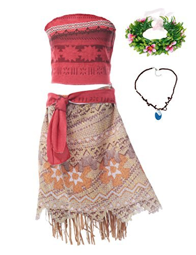 MUABABY Moana Girls Adventure Outfit Costume Skirt Set with Necklace with Headband -