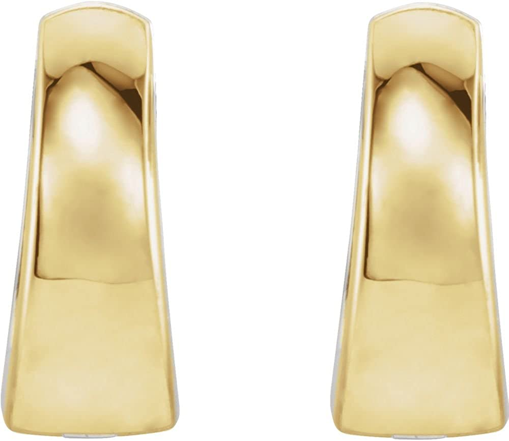 Jewels By Lux 14K Yellow and White Two Tone Gold 10.25 mm Pair Polished Two Tone Hinged Earring