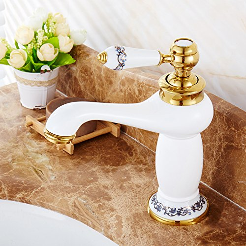 K redOOY Faucet Taps golden Faucet Hot And Cold Faucet Copper Bathroom Height bluee And White Porcelain Counter Basin gold-Plated Antique Faucet, Silver