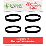 4 drive belts for Hoover Elite Rewind, Legacy Agitator Vacuums; Compare to Hoover Part Nos. 40201190, 38528040; Designed & Engineered by Think Crucial