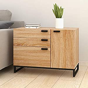 WLIVE 3 Drawer Dresser, Wide Chest of Drawers with 1 Side Door, Wood Storage Cabinet with Sturdy Metal Frame for Bedroom…