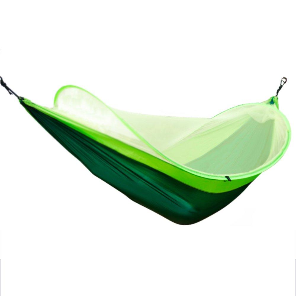 ZDDAB im Freien einzelne doppelte Hängematte mit Moskitonetz, Innenschlafzimmer-Schlafzimmer-Schwingen, Haushalts-erwachsene Schlafen-Hängematte ( Farbe : Grün , größe : Without straps )