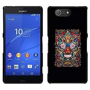 """For Sony Xperia Z3 Plus / Z3+ / Sony E6553 (Not Z3) Case , Cráneo Vida Muerte Negro Arte floral de primavera"""" - Diseño Patrón Teléfono Caso Cubierta Case Bumper Duro Protección Case Cover Funda"""