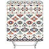 Shower Curtains Seamless Ethnic Textures Navajo Waterproof Mildew Resistant 66 x 72 inches Polyester Fabric Bath Bathroom Curtain