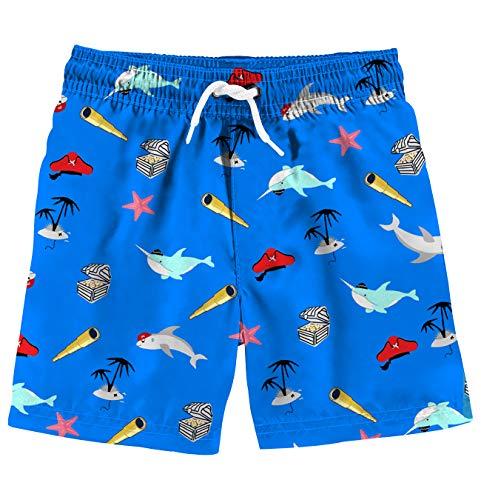 Funnycokid Little Boys Beach Shorts Printed Graphic Pattern Funky Dolphin Kids Swim Wear 4-6Y Kids Board Shorts