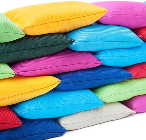 4 pack of White Cotton Fabric Bean Bags for Sports, PE, School, Catching Games, Sensory, Juggling