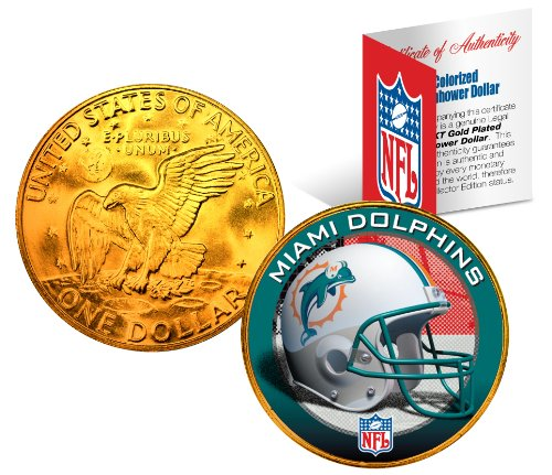 MIAMI DOLPHINS NFL 24K Gold Plated IKE Dollar US Coin OFFICIALLY LICENSED with NFL Certificate