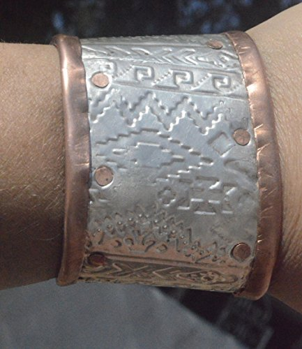 Embossed Sterling Silver 925 Forged Copper Wide Cuff Bracelet Primitive Brutalist Tribal Statement Native Navajo Textile Motif Petite Small (Textile Motif)