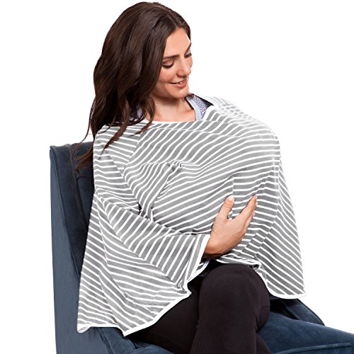 360° FULL COVERAGE Nursing Cover for Breastfeeding - Luxurious, Soft Breathable Cotton in Poncho Style (Gray Stripe) by EN Babies (Image #7)