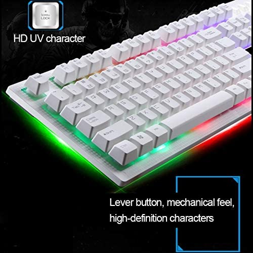 Gaming ZGB G20 1600 DPI Professional Wired RGB Backlight Mechanical Feel Suspension Keyboard Color : Black PC Optical Mouse Kit for Laptop Black