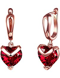 Heart Shaped Inlaid Red Diamond Earrings Rose Gold Ear Buckle