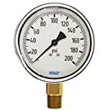 WIKA 9314172 Industrial Pressure Gauge, Liquid-Filled, Copper Alloy Wetted Parts, 4