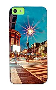 New Arrival Premium Iphone 5c Case Cover With Appearance (night Lights Architecture Buildings Usa Washinn Dc Chinatown Long Exposure Fisheye Effect Street )