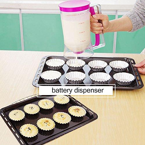 weeha Cupcake Pancake Batter dispenser-baking herramienta con medición Label- perfecto para barking-cupcakes, Magdalena Mix, Crepes, Gofres, ...