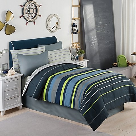 Gray, Blue & Green Boys Stripe Twin Comforter Set (6 Piece Bed In A Bag) + HOMEMADE WAX MELT