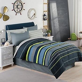 Gray, Blue U0026 Green Boys Stripe Full Comforter Set (8 Piece Bed In A Bag) +  HOMEMADE WAX MELT