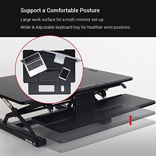 Loctek - Height Adjustable Standing Desk 36'' Wide Platform, Removable Keyboard Tray with Power Strip Holder & USB Port (PL36B) by Loctek (Image #2)
