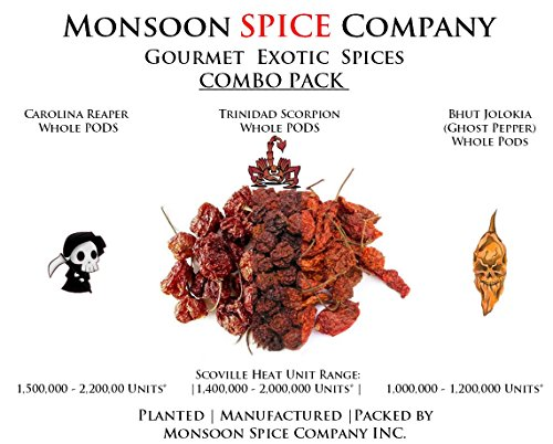(Monsoon Spice Company Carolina Reapers Dry Whole Pepper Pods Hottest Peppers in the World | Free Domestic Shipping (Combo Deals, Carolina + Scorpion + Ghost Pepper (6 PODS EACH)))
