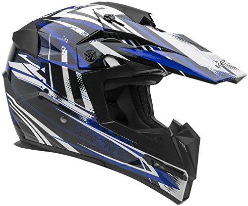Vega Helmets MIGHTY X Kids Youth Dirt Bike Helmet – Motocross Full Face Helmet for Off-Road ATV MX Enduro Quad Sport, 5 Year Warranty  (Blue Blitz Graphic,Small)
