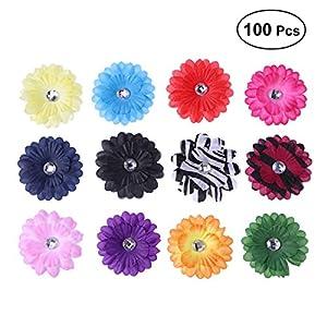 ULTNICE 100PCS 6cm Soft Sunflower Mini Daisy Flowers Artificial Silk Flowers for Party Wedding DIY Home Decoration (Random Color) 57