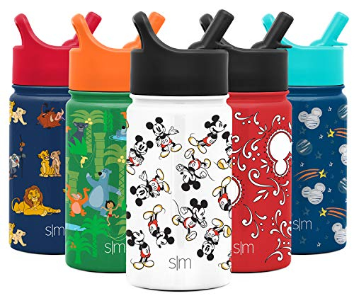 Simple Modern 14oz Disney Summit Kids Water Bottle Thermos with Straw Lid - Dishwasher Safe Vacuum Insulated Double Wall Tumbler Travel Cup 18/8 Stainless Steel - Disney: Mickey Retro