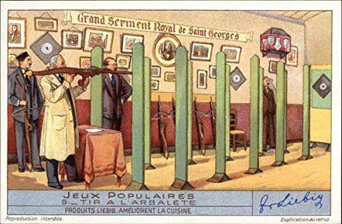 Vintage Advertising Postcard: French Crossbow Range: Jeux Populaires 8 Tir a l'Arbalete Advertising
