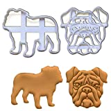 Set of 2 English Bulldog cookie cutters (Face and Silhouette), 2 pc, Ideal gift for dog lovers