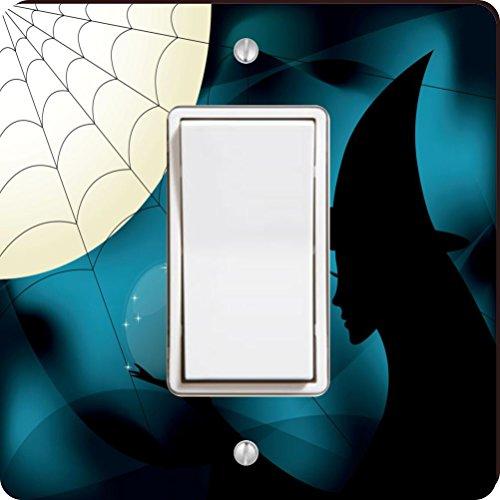 Rikki Knight Halloween Witch Silhouette on Blue Spider Web Single Rocker Light Switch Plate ()