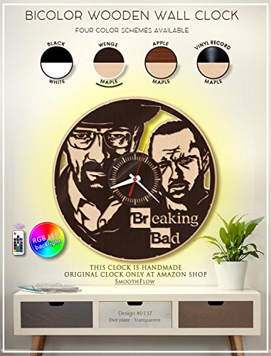 Breaking Bad Wooden Clock. Modern Bicolor Clock. Breaking Bad Gift. Handmade Wall Clock -