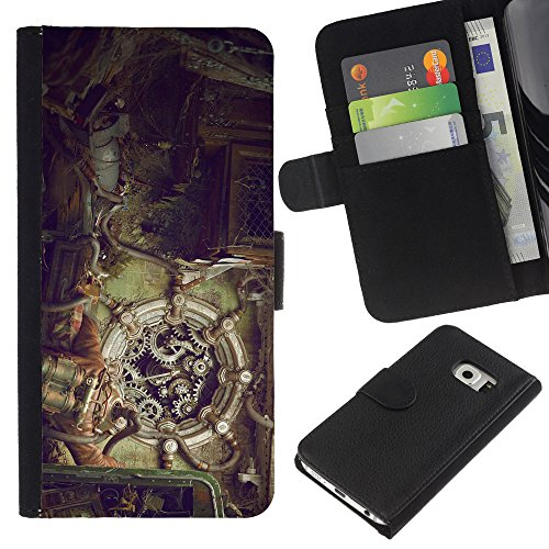 Funny Phone Case // Leather Wallet Protective Case with Slots for Money & Cards fit Samsung Galaxy S6 EDGE /Steampunk Mechanics/