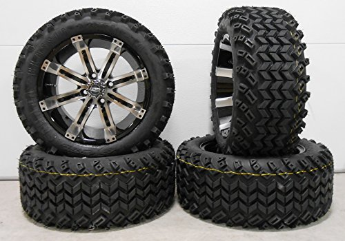 "Bundle - 9 items: Madjax Octane Machined Golf Wheels 14"" 23x10-14 Sahara Tires"