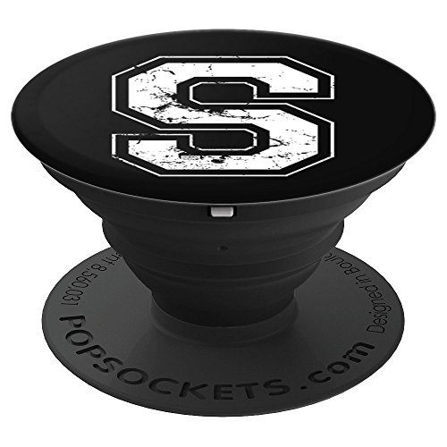 INITIAL LETTER S WHITE JERSEY SPORTS ATHLETIC PLAYER - PopSockets Grip and Stand for Phones and Tablets -