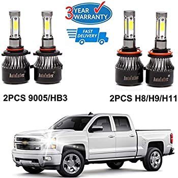H11 + 9005 LED Combo Headlight Bulb Kit High Low Beam Replacement for 2007-2015 Chevy Silverado 1500-4Pcs Set 3 Year Warranty