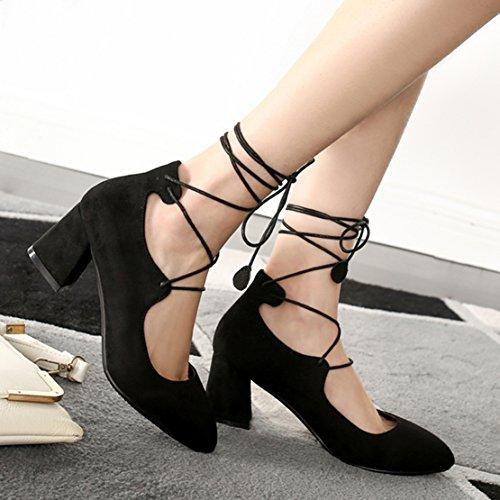 AIYOUMEI Damen Geschlossen Blockabsatz Pumps mit Schnürung und 6cm Absatz Chunky Heel Bequem Sommer Schuhe Schwarz
