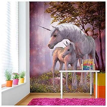 azutura Magisches Einhorn & Fohlen Fototapete Phantasie Tapete Mädchen  Schlafzimmer Dekor Erhältlich in 8 Größen Riesig Digital
