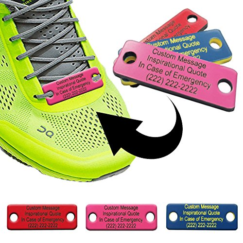 Waterproof Shoe ID Tag Personalized Impact Acrylic - In Case of Emergency Identification for Runners, Cyclists, Athletes, Travelers, Fitness, and Children (Ribbon Pink/Black) (Impact Tag)