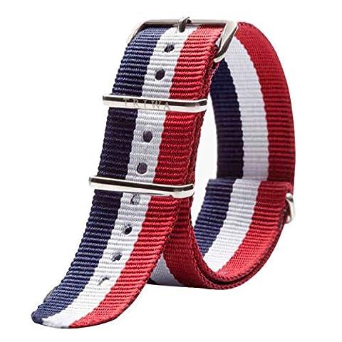 Nato Style Waterproof Ballistic Nylon Watch Strap Watch Bands Bracelet (20mm, Navy Blue+White+Red) - Navy Water Resistant Bracelet